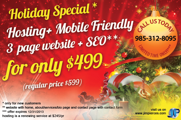 One Year Hosting, Mobile Friendly 3 Page Website + SEO for only $499!