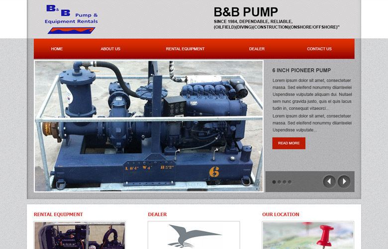 B & B Pump Website Design v1.0