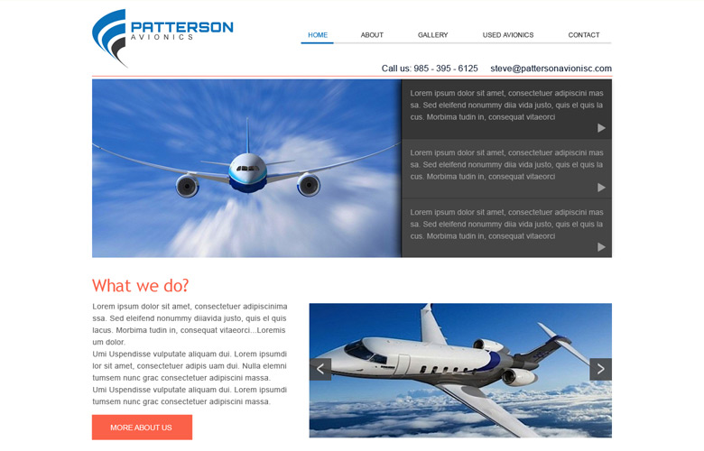 Patterson Avionics Company Website Design v2.0